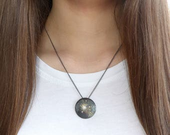 Stardust Diamond Disc Pendant   Sterling Silver and 18ct Gold   Handmade in the UK