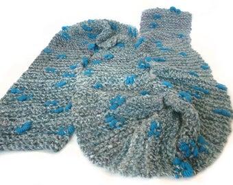 Handknit  scarf made with handspun luxury yarn - READY TO SHIP