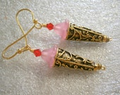Beaded Earrings in Beads and Metal, Pierced Earwires, Strawberry Sundae Ice Cream Cone OOAK Earrings, Willow Glass
