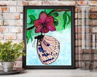 Spotted Butterly Original Watercolor - Art Print