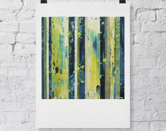 """Signed ABSTRACT PRINT of Original Painting """"Yoffa"""" by Lisa Carney - Green modern stripe art - Contemporary Colorfield - 12x12"""""""