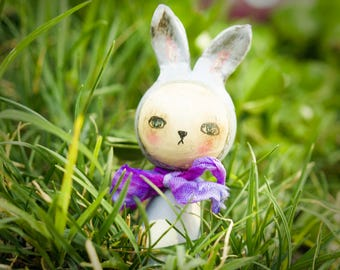 Danita kawaii kokeshi cute bunny rabbit purple violet wood doll // silk bow / handmade figurine for kid rooms / whimsical toy character