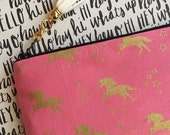 SALE - Gold unicorns on pink - Pencil pouch, pencil case, planner pouch, pencil bag with tassel pull