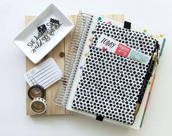 Black planner cover - black pouch - pen holder - polka dots - planner band - black planner pouch - planner cover - black pencil pouch