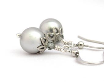 Silver Gray Pearl Earrings Dangle Drop Classic Wedding Hawaiibeads Jewelry with Crystals from Swarovski