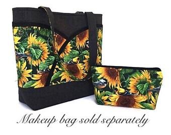 Sunflower handbag, tote bag, handmade handbag, Womens tote bag, handbags and purses, gift for her, spring handbag, summer handbag, dee