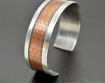 Silver Bracelet Cuff with Textured Copper Snakeskin Center Design