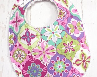 Floral Baby Bib for Baby Girl  - Triple Layer Chenille - pink, turquoise, lavender, lime green - MOD FLORAL QUATREFOIL