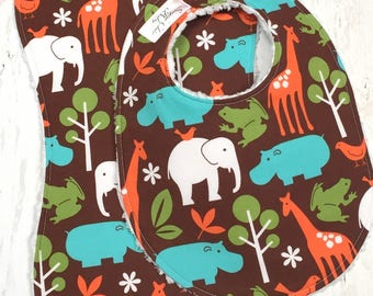 Jungle Animal Bib & Burp Cloth Set - Baby Boy - Jungle Animals, Elephants, Triple Layer Chenille Bibs - EARTHTONE ZOOLOGY