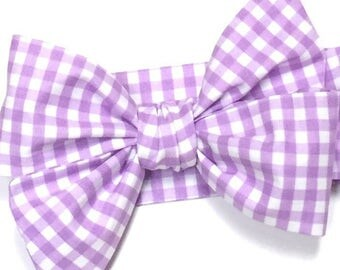 Gingham headwrap, Girls Headwrap, Baby Girl Headwrap, Head Wrap, Girls Headband, Big Bow Headwrap, Photo Prop  -  LAVENDER & WHITE GINGHAM