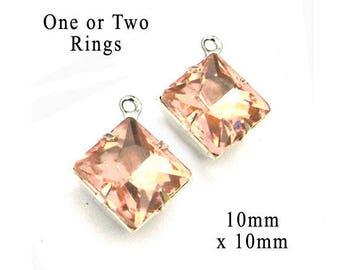 Peach Glass Beads - 10mm x 10mm Diamond Shape - Silver or Brass Settings - Square Glass Rhinestone Gems - Jewelry Supply - One Pair