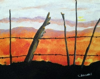 Mini Rustic Farm Rustic Sunrise Acrylic Painting