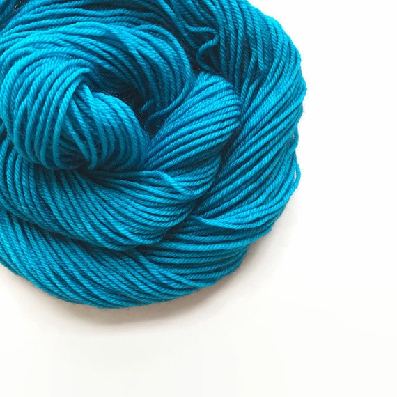 AEGEAN hand dyed yarn fingering sock dk bulky yarn super wash merino wool yarn single or ply. choose your base. deep island sea blue yarn
