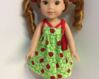 14.5 inch doll clothes ladybug sun dress with matching purse and shoes fits dolls such as Wellie Wishers