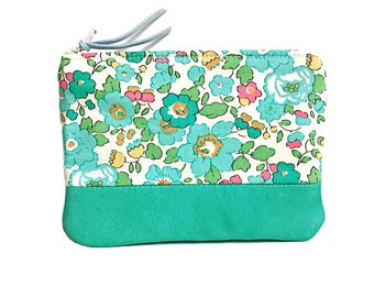 Floral Blossoms Leather Coin Purse, Coin Wallet, Small Coin Pouch, Change Purse, Zip Wallet
