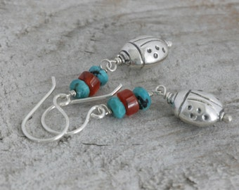 LADYBUG Turquoise Agate Sterling Hill Tribe Silver Dangle  Drop Earrings // Handcrafted Jewelry // luluglitterbug