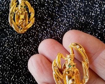 Vintage 1960s Earrings Shriners Royal Order of Jesters Billiken Genie King