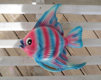 Pink and Blue Striped Chalkware Fish - Retro Bathroom Decor - Made by Bradley Exclusives