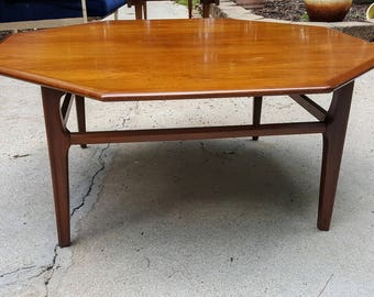 mid century octagonal wood spindly leg coffee table mad men style. beautiful ideas. Home Design Ideas
