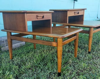 Pair Of Mid Century Lane Acclaim Step End Tables With Drawers