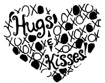 Hugs & Kisses Heart LARGE Red Rubber Stamp-Original design 01410, heart rubber stamp, valentines rubber stamp, love rubber stamp