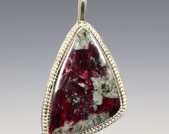 Eudialyte Pendant. Sterling Silver Necklace. Genuine Gemstone. Bezel Setting. Designer Cabochon. Gift for Her. f13p003