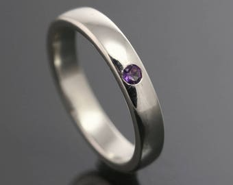 Minimalist Sterling Silver Ring. One Flush Set Stone. Genuine Gemstone. Natural Birthstone. Customized. Made to Order. Gift for Her.