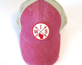Distressed Snapback Trucker Hat - Wisconsin Patched Red and Cream Arrow Compass on Washed Red Hat