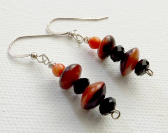 Wood, Black Glass, and Coral Colored Beaded Drop Earrings