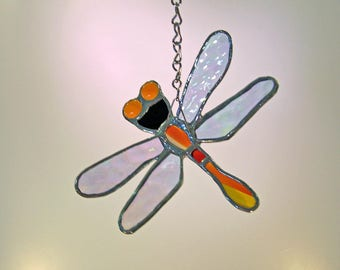 Dragonfly Stained Glass and Yellow Suncatcher