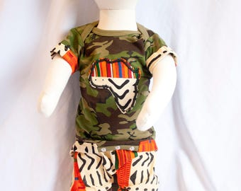 Nasir Kente / Army Print - Africa Decal - Boys - African Infant Clothes