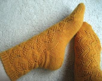 SPRING FORWARD Sunshine Yellow Orange Alpaca Lace Socks Hand Knit Size 7 8