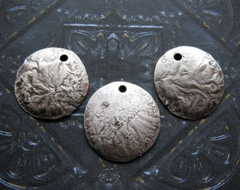 Antiqued Fine Silver Fused Copper Discs - 3 pieces - 18mm Single Hole Domed Charms