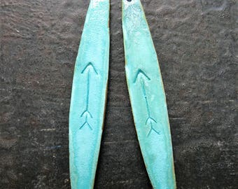 Verdigris Brass Arrow Stamped Spear Charms - 1 pair - 38 by 6mm - Single Hole Earring Charms