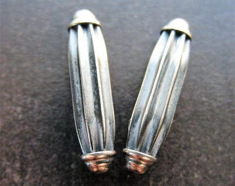 Antiqued Sterling Silver Corrugated Capsule Beads - 1 pair -  18mm