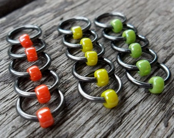Choose Size Dangle Free Knitting Stitch Markers Lustre Citrus Trio Orange, Yellow, Green Set of 15 Snag Free