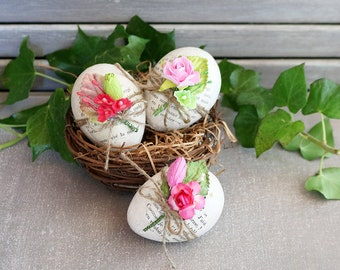 Decorated Floral Eggs, Pink & Green Cottage Spring Decor