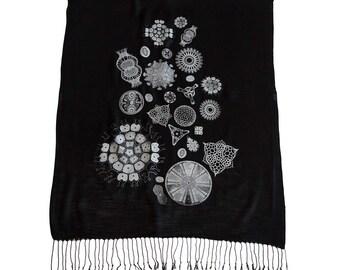 Diatoms Printed Scarf. Silkscreened Linen weave pashmina. Haeckel illustrations, microscope scans. Choose black, silver & more.