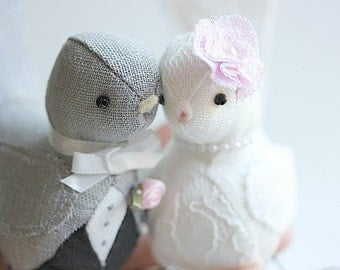 Love Birds cake topper - Bird wedding cake topper - Gray and White- Wedding cake topper lovebirds - Customized Order