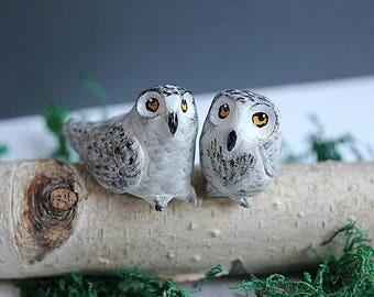 Snow Owl cake topper, Clay Owl cake topper, READY TO SHP, Winter Wedding Decoration, Snow Owl wedding, Owl cake topper, Love Owls,Love Birds