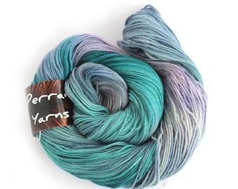 Pure yak handdyed yarn, 100% yak sportweight knitting crochet Perran Yarns Moonscape blue purple variegated yarn skein free knitting pattern