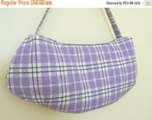 CLEARANCE SALE Purple Plaid Wool Hobo Bag, Shoulder Bag, Purse zipper closure