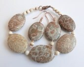 Fossil Coral bracelet and earrings set. Copper, bone accents.
