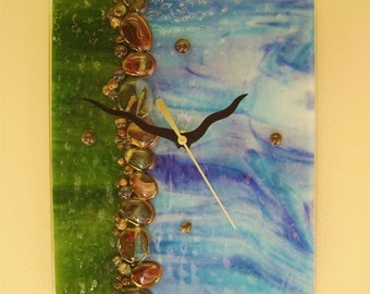 Water's Edge Fused Glass Wall Clock