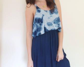 Hand Dyed Playa Dress in Indigo ,  Empire Waist with Ruffle, Rayon Gauze, Anna Joyce, Portland, OR,