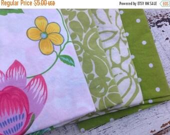 SALE- Fat Quarter Bundle-Reclaimed Bed Linens -Green Thumb