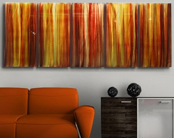 Extra Large Red, Yellow & Orange Contemporary Metal Wall Art Sculpture, Abstract Painting, Modern Metal Art - Autumn's Prism XL by Jon Allen