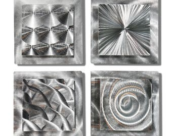 BIG SALE!! All Natural Silver Modern Metal Wall Sculpture - Etched Square Abstract Accents Contemporary Metal Art - 4 Squares by Jon Allen