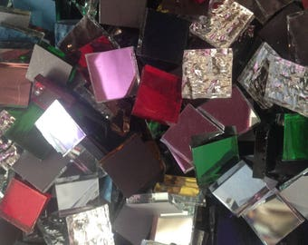 50 tiles - 3/4 inch MIXED COLORS Hand Cut Mirror Glass Mosaic Tiles