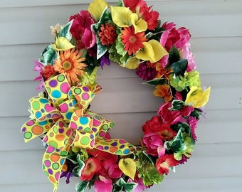 Spring Wreath, Summer Wreath, Front Door Wreath, Welcome Wreath, Year Round Wreath, Door Decoration, Everyday Wreath, Wreath